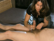 Tanned brunette uses her hands to get her lover to cum